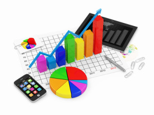 Business Graph with Pie Chart, Tablet PC and Smartphone